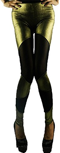 Punk Rock Singer Dancer Stage Costume Bling Golden Metallic Leggings Pants