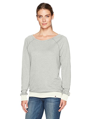 Rayon Women Sweatshirt (Champion Women's Authentic Originals French Terry Sweatshirt, Oxford Gray/Oatmeal Heather, Large)
