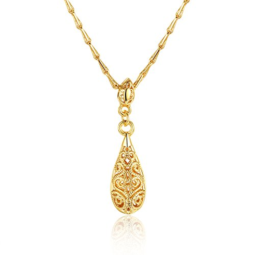 Naivo 18K Gold Plated Bohemian Filigree Teardrop Necklace - 3 Colors (brass-plated-gold)