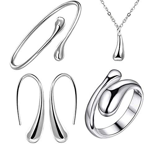 925 Sterling Silver Necklace Earring Ring Bangle Set for 4 Pcs (Silver) ()