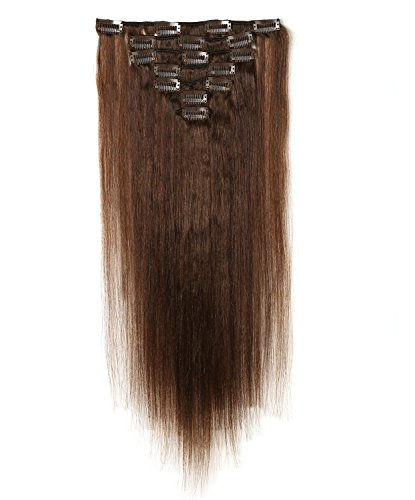 Rosette Hair 7pcs/set 18 Inch 16Clips in Brazilian Hair Extensions Full Head Human Hair Extensions Darkbrown Color Cosplay Halloween Hairpieces 75grams