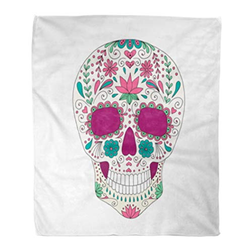 Golee Throw Blanket Candy Skull Floral Sugar Lace Mexican Bone Calavera Celebration Culture 60x80 Inches Warm Fuzzy Soft Blanket for Bed Sofa ()