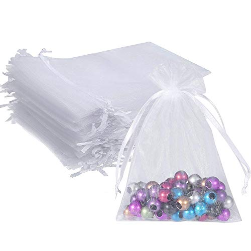 Wuligirl 100pcs 5X7 Inches Christmas Drawstring Organza Gift Bag Pouches Party Wedding Favor Seashell Chocolates Gift Bags for Women (White 5×7)