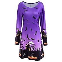 Theshy Womens Ladies Halloween Print Long Sleeve Evening Prom Costume Swing Dress