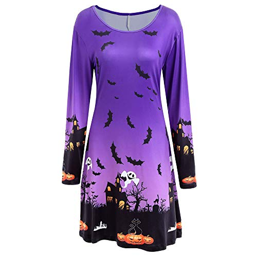 Clearance Halloween Dress, Forthery Women Pumpkin Skull Ghost Skater Swing Dress Vintage A-line Dress (S, Purple) -