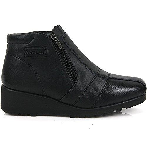 Nouveau Noir Femmes Hiver Zip Cheville Wedge Talons Bottes Neige Chaud Chaussures En Cuir
