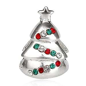 En el panel izquierdo de árbol de Navidad diseño de cristales de la CZ 925 plata de ley para pulseras de cuentas encanto europeo Pandora