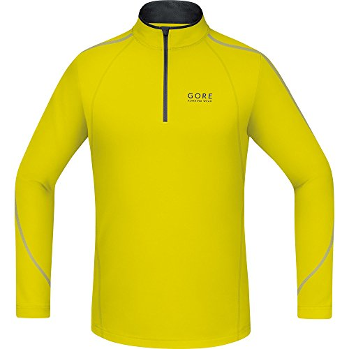 Gore Running Wear Essential Zip - Camiseta de manga larga para hombre Amarillo