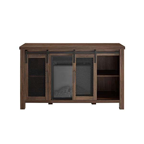 """Walker Edison Tall Farmhouse Metal Mesh Barndoor and Wood Universal Fireplace Stand or TV's up to 52"""" Flat Screen Living Room Storage Entertainment Center, 48 Inch, Walnut Brown"""