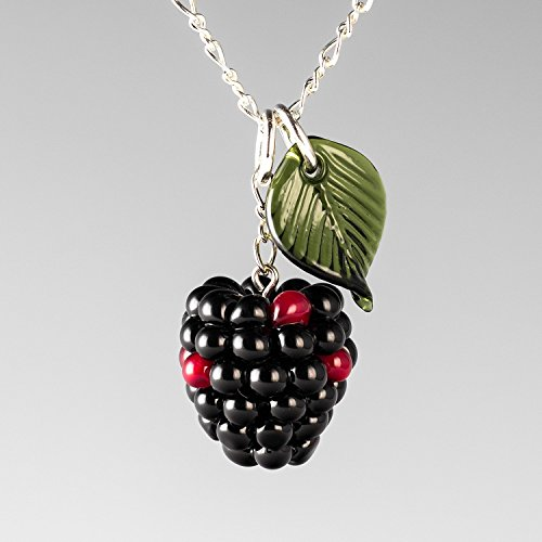 Glass Charm Silver Leaf Sterling (Glass Blackberry Necklace with Dark Green Leaf on Adjustable Sterling Silver Figure 8 Chain)