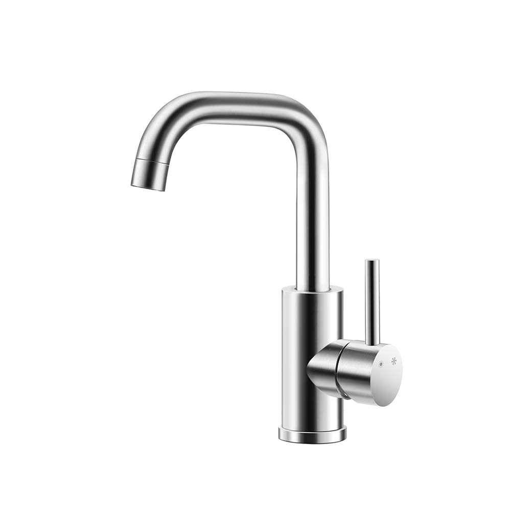 FU LIAN Bathroom Faucet, 304 Stainless Steel, Healthy, hot and Cold Water, Wire Drawing Process, 360° Free Spin, wash, Silver by FU LIAN