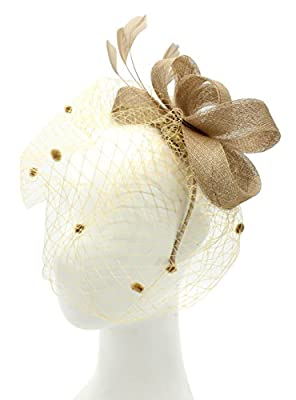 Felizhouse Sinamay Bow Veil Feather Fascinator Headband for Women Derby Party