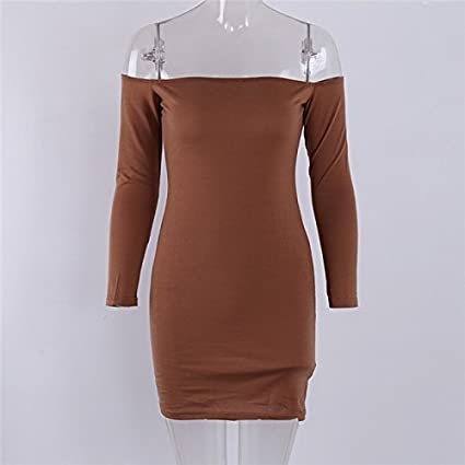 9edc8cda1d8 Amazon.com: Dolland Women's Sexy Off Shoulder Long Sleeve Club Bodycon  Tight Party Cocktail Pencil Mini Dress,KhakiXL: Arts, Crafts & Sewing