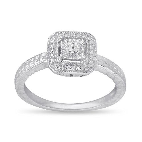 0.04 CTTW Sterling Silver White Diamond box set ring