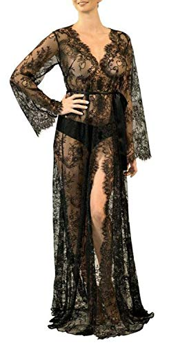 VenuStar Women Long Cover up Kimono Cover up Beach Kimono Flowy Embroidered with Half Sleeves (One Size, F-Black)