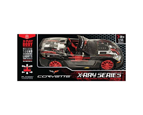 X Ray Racer Rc Full Function Corvette - Black And Red - 1:14 (Remote Corvette Control)