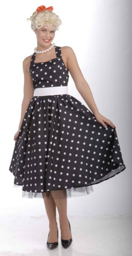 50 Housewives Costumes (Forum Novelties Women's Flirting with The 50's Polka Dot Cutie, Black, X-Large)