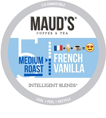 Mauds French Vanilla Coffee, 100ct. Recyclable Single Serve French Vanilla Flavored Coffee Pods - 100% Arabica Coffee California Roasted, Keurig French Vanilla K Cups Compatible Including 2.0