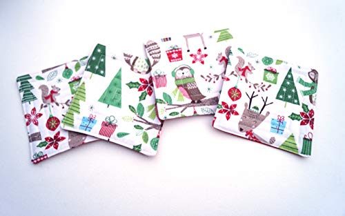 (Christmas Fabric Quilted Coasters with Woodland Animals)