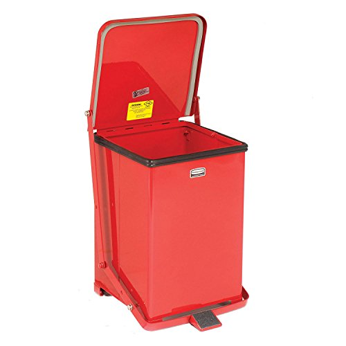 Rubbermaid Commercial Defenders Front Step-On Trash Can with Retainer Bands, 7 Gallon, Red, FGST7ERBRD -
