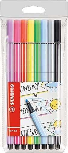 STABILO Pen 68 - Rotulador de fieltro, color Paquete de 8 unidades ...