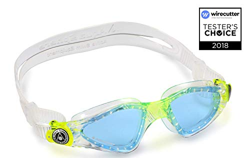 Aqua Sphere Kayenne Junior Swim Goggles with Blue Lens (Clear/Lime). Swimming Goggles for Kids. ()
