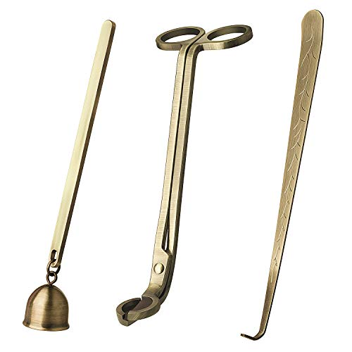 DANGSHAN Candle Snuffer Candle Accessory Set, 3 in 1 Candle Wick Trimmer, Candle Wick Dipper, Candle Snuffers (Bronze) by DANGSHAN (Image #1)