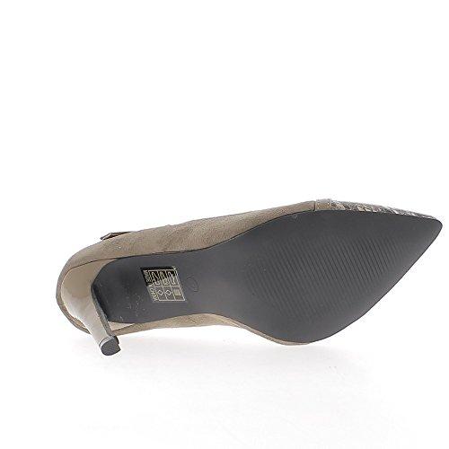 ChaussMoi Mujer Bi Material Taupe 10.5 cm Sharp de Tacón