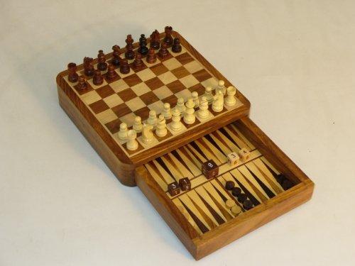 Chopra Backgammon and Chess Set with Drawer Design