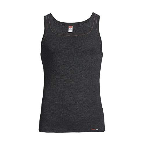 con-ta Thermo Unterhemd, Unterziehshirt für Herren, Muskelshirt mit natürlicher Baumwolle, wärmende Unterwäsche für Männer, Farben: Schwarz Melange, Marine Melange, Größen: 5-10