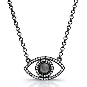 Victoria Kay 1/4ct White Diamond and Black Moonstone Evil Eye Necklace in Black Rhodium Plated Sterling Silver (J, I2-I3)