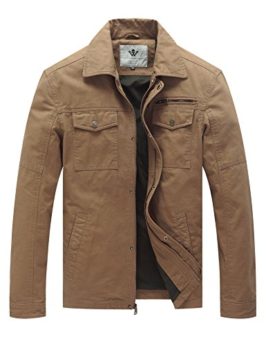 WenVen Men's Vintage Trucker Jacket (Khaki, L)