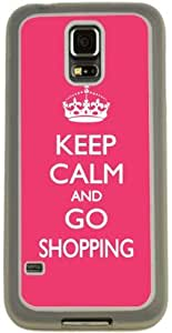 lintao diy Rikki KnightTM Keep Calm and Go Shopping - Tropical Pink Color Design Samsung? Galaxy S5 Case Cover (Clear Rubber with Bumper Protection) for Samsung Galaxy S5 i9600