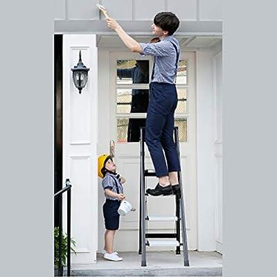 Escalera de seguridad de 4 escalones | Plegable, fuerte, antideslizante, pedal ensanchado, escalera de mano de goma moldeada portátil habilitada Alcance extendido para pintura, limpieza y otros: Amazon.es: Hogar