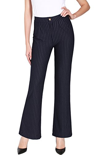 2LUV Women's Stretch Pinstripe Faux Pocket Pull On Dress Pants Navy (Pinstripe Spandex Trousers)