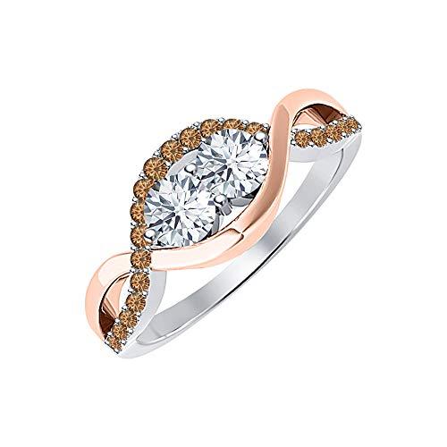 tusakha Womens 14K Two Tone Gold Over 925 Sterling Silver Diamond & Smoky Quartz Infinity Style Twist Band Wedding Ring ()
