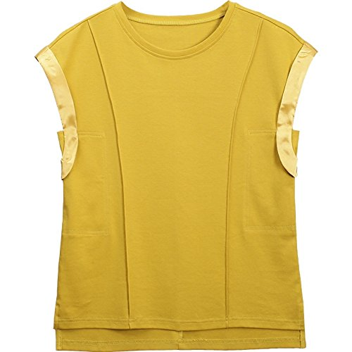 giallo allentata maniche ampia allentata da corte ampia Maglietta a Maglietta corte a a estiva donna maniche MOMO232365 maniche lunghe UfHqT