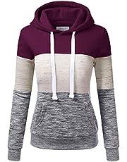 Briskorry Gestreepte capuchontrui voor dames, hoodies, casual, kleurblok, pullover, warm sweatshirt met capuchon, zakken, tienage meisjes, lange mouwen, jumper, bovenstuk, tops voor vrouwen