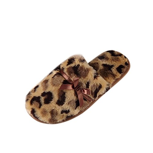 Tortor 1bacha Gutt Jente Voksne Kvinner Leopard Fuskepels Lukket Tå Plysj Fuzzy Hjem Tøfler Brun Gul