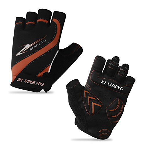 Men Women Breathable Mesh Non-Slip Foam Padded Half Finger Short Gloves for Cycling Mountain Bike Road Racing Bicycle Riding Motorcycle Driving Daily Use (Orange Line, L)