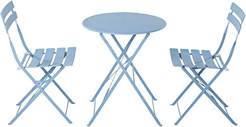 Aoboco Grand Patio 3 Piece Patio Set of Foldable Patio Table and Chairs, High Grade Steel Courtyard Leisure Bistro Sets…