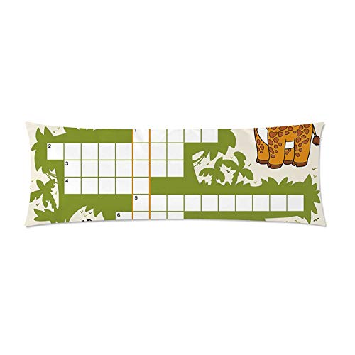 C COABALLA Word Search Puzzle Comfortable Rectangular Pillowcase,Colorful Crossword Game for Children Wild Jungle Safari Animals Grid Decorative for Home,One Side Print with Zipper30 L x 20