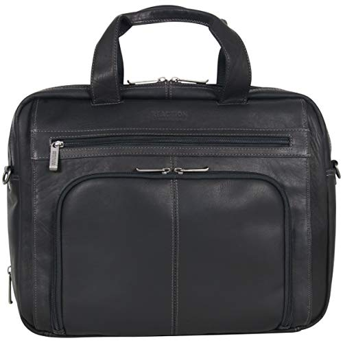 Kenneth Cole Reaction Out Of The Bag' Manhattan Colombian Leather RFID 15.6″ Laptop Briefcase, Black, One Size