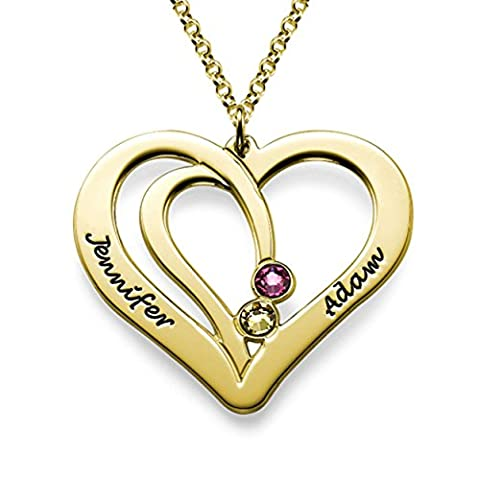 Couples Engraved Birthstone Necklace Personalize with Any Name and Swarovski Gems 18K Gold Plating - Swarovski Engraved Necklace