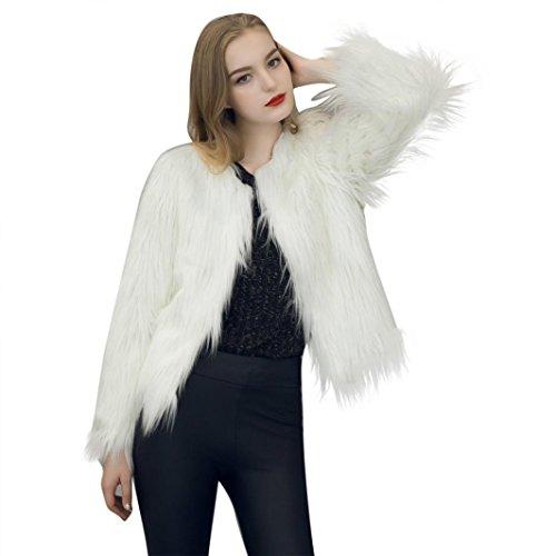 Womens Coat, Malltop Long Sleeve Solid Faux Fur Fox Winter (Rabbit Fur Crop)
