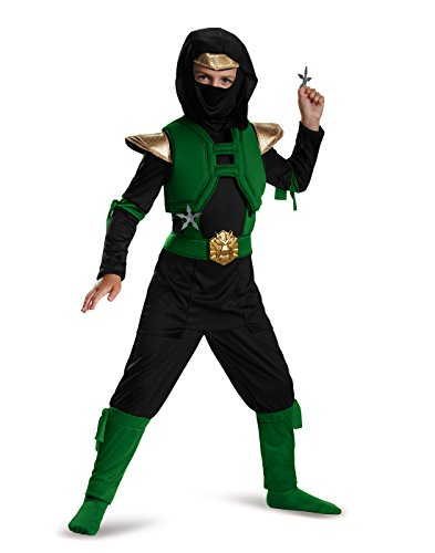 Ninja Master Costumes (Disguise Green/Black Master Ninja Deluxe Costume, Medium (7-8))