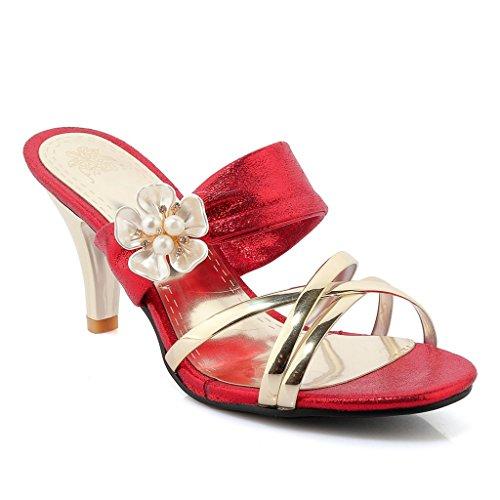 GIY Women's Flower Crisscross Dress Slip On Slide Sandals Open Toe Stiletto Kitten Heels Shoes Red ()