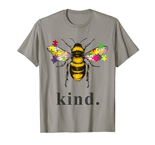 - Autism Awareness Bee Kind Puzzle Pieces T Shirt
