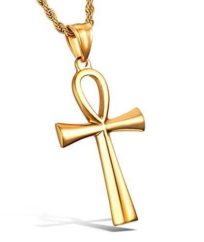 (HZMAN Men's Gold Stainless Steel Coptic Ankh Cross Religious Pendant Necklace, 22