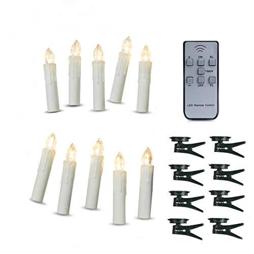 Flameless Double Wall Sconce - TBW Timer LED Taper Candles Battery Powered Remote Control Wedding LED Candles Taper Candles with Clip Suitable for Hotels, Bars, Home Decoration, Churches, Temples, Christmas Day